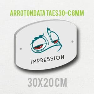 Targa plexiglass personalizzata f.to arrotondata 30x20 spessore 8mm